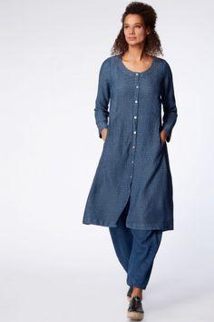 Sahara Waffle Denim Linen Shirt Dress