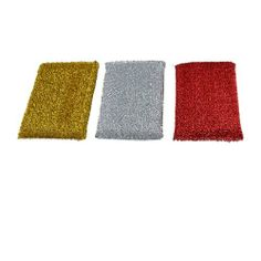 "Amico Assorted Colors Dish Cleaning Metallic Scrub Sponge Pad Cleaner 3 Pcs by Amico. $3.56. Package : 3 Pcs x Dish Pad Cleaner. Pad Size : 12.3 x 8.8 x 1.5cm/ 4.8"" x 3.5"" x 0.6"" (L*W*T). Main Material : Metallic Thread, Sponge. Product Name : Dish Pad Cleaner;Color : Silver Tone, Gold Tone, Red. Weight : 32g. 3 pcs of Dish Pad Cleaners in red, gold tone and silver tone. Can be used to clean pans, pots, crockeries, microware ovens, bowl, cup, dish, etc. Long lasting..."