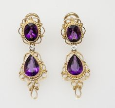 These earrings are part of my modern filigree collection. Filigree is an ancient, high-end jewelry making tradition. It involves tightly weaving Filigree Earrings, Amethyst Earrings, Drop Earrings, Diamond Ice, Diamond Gemstone, Filigree Design, Gold Filigree, Old Rings, Matching Necklaces