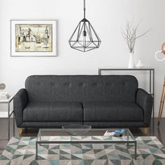 Archer 3 Seater Fabric Sofa Bed in Charcoal/Dark Grey | Furniture123