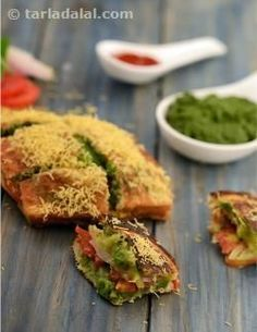 Masala toast, the humble potato comes to the rescue once again, to calm your hunger pangs! the unique stove and toaster used to make these toasts is a typical trademark of street-side food. Mind not the prodigal portions of butter used to ensure even grilling of the toast! forget the calories and relish this piping hot, topped with crunchy sev.