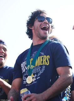 Jonathon Thurston was all smiles as he stood on stage in front of 15,000 fans at his home ground