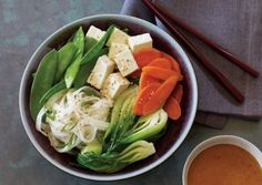 Noodles and Vegetables with Sesame Dipping Sauce