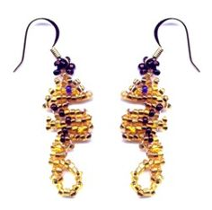 Beaded Seahorse Weave Earrings Pattern and Kit!  Make your own Seahorse Weave Earring! The Pattern is a 5 page, full color, step-by-step instruction booklet. When  completed these earrings are about 2 inch wide by 1/2 inch tall.