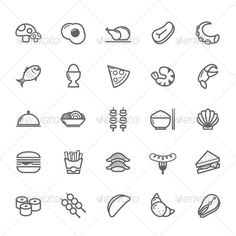 25 Outline Stroke Food Icons