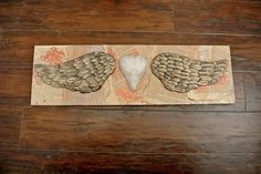 Angel wing and heart 3D mixed media wall hanging