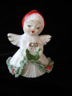 vintage Christmas figurine tiny ceramic angel girl with holly by mudintheUSA on Etsy