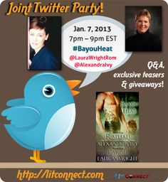 Join the twitter party for the first book in the Bayou Heat series by @LauraWrightRom and @AlexandraIvy - $25 gift card & more in pre-registration prizes.  More prizes on Jan 7th for 7-9 PM EST.  http://litconnect.com/joint-twitter-party-raphael-bayou-heat-series-by-laura-wright-alexandra-ivy …