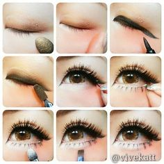 Step- by- step guide on application of shading of eye make-up and fake eye- lashes. Sure makes eyes POP!
