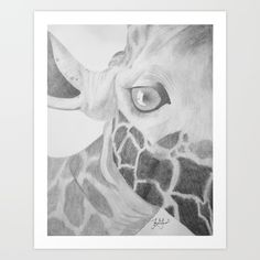 An asymmetric portrait of a giraffe. Drawn in sketch form with various sketching pencils. Inspired by the mighty giraffe's talleness.