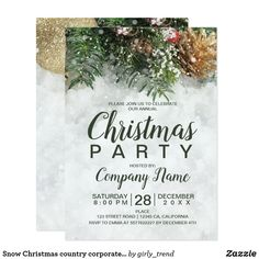 Shop Snow Christmas country corporate green pine gold Invitation created by girly_trend. Christmas Save The Date, Rustic Christmas, Christmas Wedding, Christmas Ideas, Christmas Invitations, Rustic Invitations, Invitation Ideas, Wedding Invitation, Holiday Parties