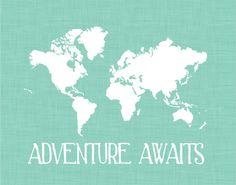 World Map Print Nursery Wall Decor Custom by TheEducatedOwl