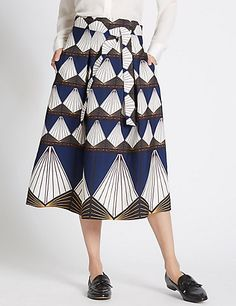 Diamond Print A-Line Skirt | M&S
