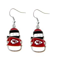 Kansas City Chiefs Snowman Dangle Earrings