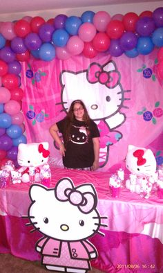 hello kitty birthday party banner, backdrop. interested, check us out on FaceBook @ NYC balloon squad
