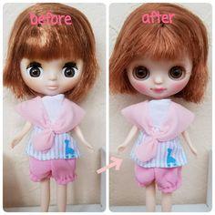 @yuuko5652 さんオーダーありがとうございます ピンクメイクの女の子らしい子に❤ #カスタムプチブライス #プチブライスカスタム #フレンドリージラフ