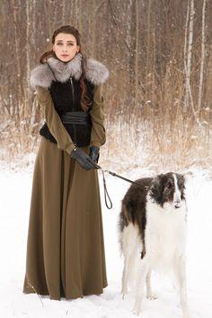 Russian lady with borzoi. #borzoi #dogs #Russian Russian Beauty, Russian Fashion, Borzoi Dog, Russian Wolfhound, Beautiful Outfits, Editorial Fashion, Girls, Russian Dogs, Russian Ladies