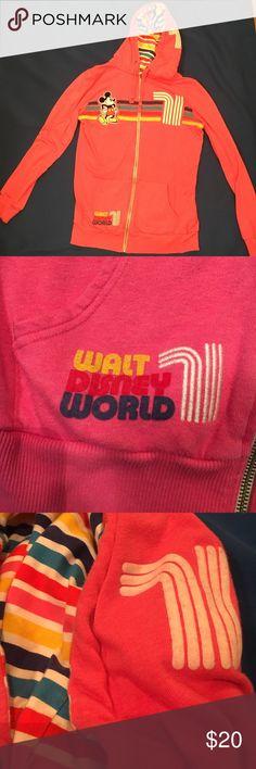 Walt Disney World Retro Style Hoodie Excellent Condition.. Retro Style Walt Disney hoodie. With working draw strings around the Hoodie and a striped hoodie inside. Color- Pink Disney Tops Sweatshirts & Hoodies