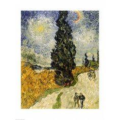 Road with Cypresses 1890 Canvas Art - Vincent Van Gogh (18 x 24)