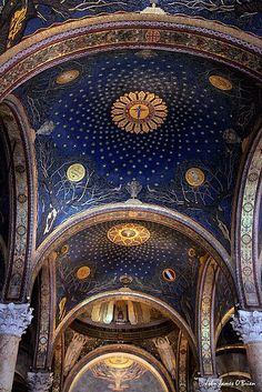 Church of Gethsemane, Jerusalem, Israel.  Officially called The Church of Agony or the Church of All Nations.  It is located next to the olive grove where it is believed Jesus prayed and was arrested on the Friday before he was crucified.