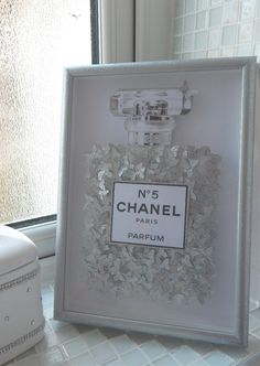 Glitter picture Chanel no 5 with lots of silver glitter butterflies, in silver glitter 3d frame, Bespoke by Flutterframes on Etsy