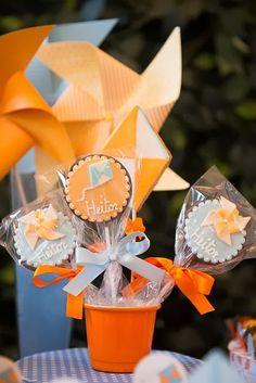 Pinwheels And Kites Party Planning Ideas Supplies Idea Cake Decor Baby Boy Birthday, First Birthday Parties, First Birthdays, Paper Airplane Party, Decor Eventos, Kite Party, Baby Shower, Pinwheels, Balloons