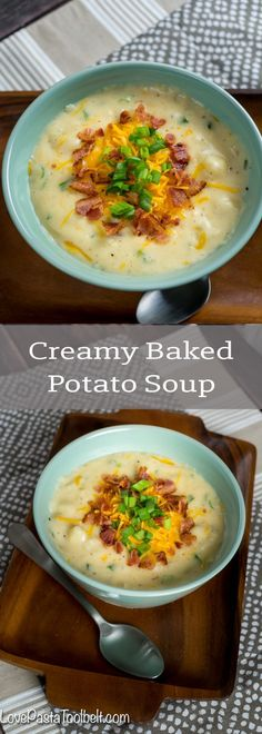 Creamy Baked Potato Soup- warm, comfort food, winter food, soup recipes, recipe, cheese, bacon, green onions, dinner.  via @LovePastaBlog
