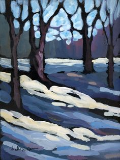 Winter- Shelli Walters value painting? Art And Illustration, Paintings I Love, Original Paintings, Tree Paintings, Acrylic Paintings, Landscape Art, Landscape Paintings, Winter Landscape, Winter Art