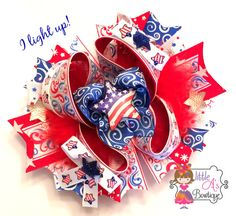 Light up 4th of July OTT bow Fourth of July by LittleAsBowtique, $21.00