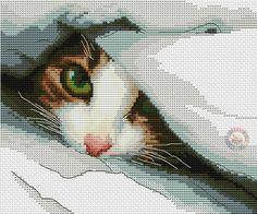 Cat under a blanket cross stitch.