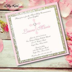 Communion Invitation Girl Communion Glitter by LibbyKateSmiles