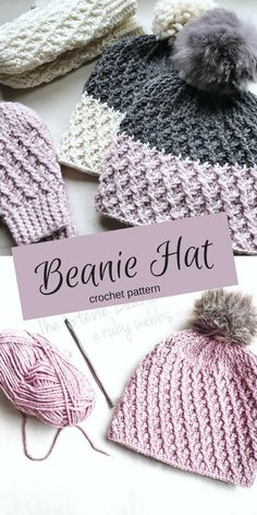 Crochet Pattern - Totally in love with this beanie hat - with that fabulous pompom on the top! #ad #crochet #crochetpattern #CrochetBeanie