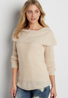 off the shoulder pullover tunic sweater (original price, $39.00 ) available at #Maurices #wishpinwinsweepstakes and #discovermaurices