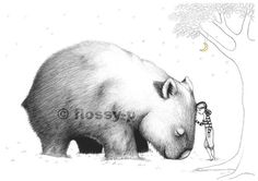 Wombat Pillowcase facing right by flossyparticles on Etsy, $32.00