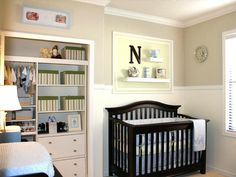 LOVE the way they have transformed that closet. Doubt I could every keep a closet that  organized :) Love the colors in this nursery for a boy too!