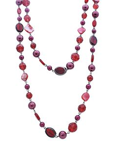 """24"""" Long Glass Beads Long Necklace - EEN0451-RED"""