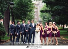 I like these wedding colors - purple bridesmaids dresses with blue suits for the groomsmen.