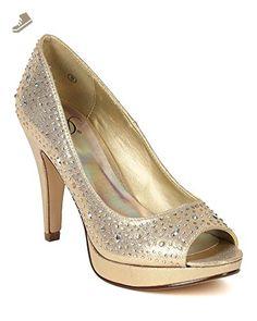 Delicious BD45 Women Shimmer Metallic Leatherette Stones Embellishment Peep Toe Heel Pump - Gold (Size: 6.0) - Delicious pumps for women (*Amazon Partner-Link)