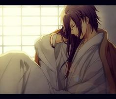 Hajime is cloaked with Souji's robe~♥