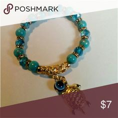 Turtle Charm Bracelet NWT! Gold and blue turtle charm bracelet.  *Fashion Jewelry -Bundle to save on shipping cost Jewelry Bracelets