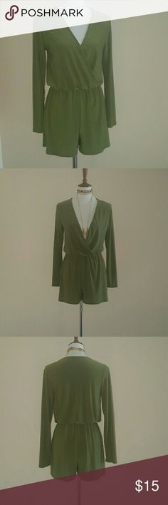 Army Green vneck Romper Long sleeved army green romper. Deep vneck. Elastic at waist.Can wear a bralette or cami underneath. Has stretch. Dress this romper up w/any accessory!!  Nwot. 95% polyester 5% spandex  Size small fits bust 33.5'-34.5' waist 25.5-26.5' hips 35.5-36.5' Charlotte Russe Pants Jumpsuits & Rompers