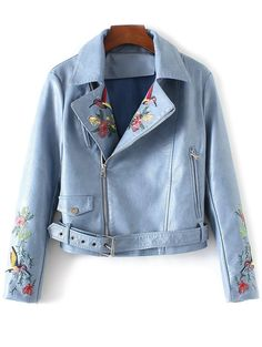 Only $35.99 for Embroidered Lapel Collar Faux Leather Jacket