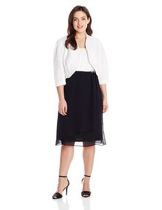 Le Bos Women's Plus-Size Please Shimmer 2 Tone Jacket Dress *** Don't get left behind, see this great  product : Trendy plus size clothing