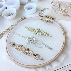 Lots of beautiful designs in progress.💕 Do you see yours? Tambour Beading, Tambour Embroidery, Couture Embroidery, Bead Embroidery Jewelry, Embroidery Fashion, Beaded Embroidery, Beaded Jewelry, Bead Embroidery Tutorial, Hand Embroidery Patterns