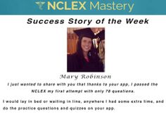 Mary Robinson is our #NCLEX Mastery Success Story of the Week. Congratulations on passing your NCLEX, and becoming a #nurse. We're glad we could help play a part in you achieving your dreams. If you want to know how Cheryl passed or need help on your NCLEX studies visit: www.nclexmastery.com