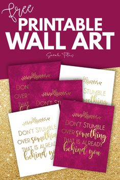 Grab this free wall art to hang anywhere in your home. This inspirational wall art is great for office wall art or bedroom wall art to remind you not to stumble over something that's already behind you! Free Printable Art, Printable Designs, Printable Planner, Planner Stickers, Free Printables, Diy Wall Art, Home Decor Wall Art, Bujo, Coloring Pages