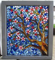 Primavera. Glass on glass mosaic window of tree flowering..beautiful!