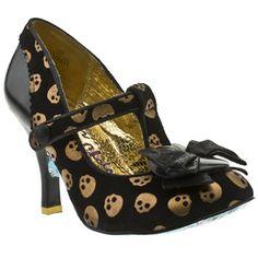 Womens Irregular Choice Cortesan Chillydog T-bar High Heels    €90           Colour: Black & Gold     Product Code: 1158747950     Heel Height: 9.5cm     Material: Suede   €90