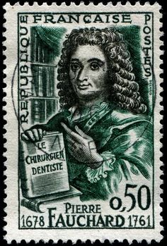 """Pierre Fauchard (1678-1761) was a French physician credited as being the """"father of modern dentistry"""". His seminal textbook, Le chirurgien dentiste, """"The Surgeon Dentist,"""" was published in 1728. Here is an image of a stamp depicting Fauchard and his book, designed and engraved by Albert Decaris after a portrait by French painter J. Le Bel, and issued by France on July 1, 1961 to commemorate the 200th anniversary of Fauchard's death, Scott No. 1003, Y&T No. 1307."""