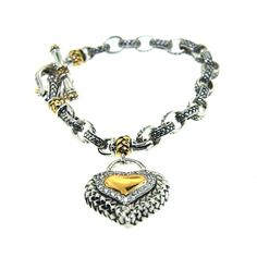 Designer Inspired Two-Tone Sterling Silver Charm Bracelet with CZ Heart Charm